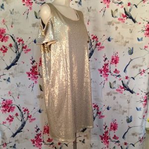 Chico's Sequin Cold Shoulder Shift Dress Size 3 XL